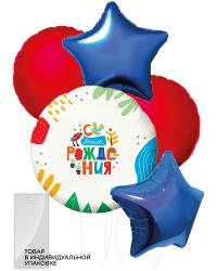 Набор шаров (18''/46 см) С Днем Рождения! (яркая аппликация), Ассорти, 5 шт. в упак.