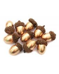 """Набор искусственных орехов """"Желудь"""", цвет: золотой, 1.8x3 см, 8 штук"""