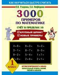 3000 примеров по математике. Счёт в пределах 10. 1 класс
