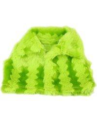 Жилетка для куклы меховая, цвет: зеленый, 14 см