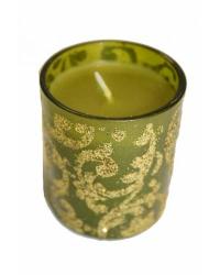 Свеча стекло широкий зеленый 6см