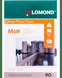 """Фотобумага """"Lomond"""" для струйной печати, А4, 90 г/м, 100 листов, односторонняя, матовая"""