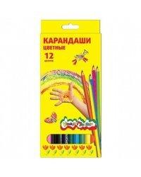 Карандаши цветные Каляка-Маляка шестигранные с заточкой (12 цветов)