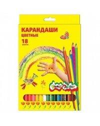 Карандаши цветные Каляка-Маляка шестигранные с заточкой (18 цветов)