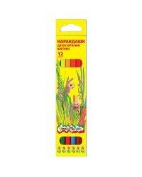 Карандаши цветные двусторонние Каляка-Маляка шестигранные с заточкой (6 штук, 12 цветов)