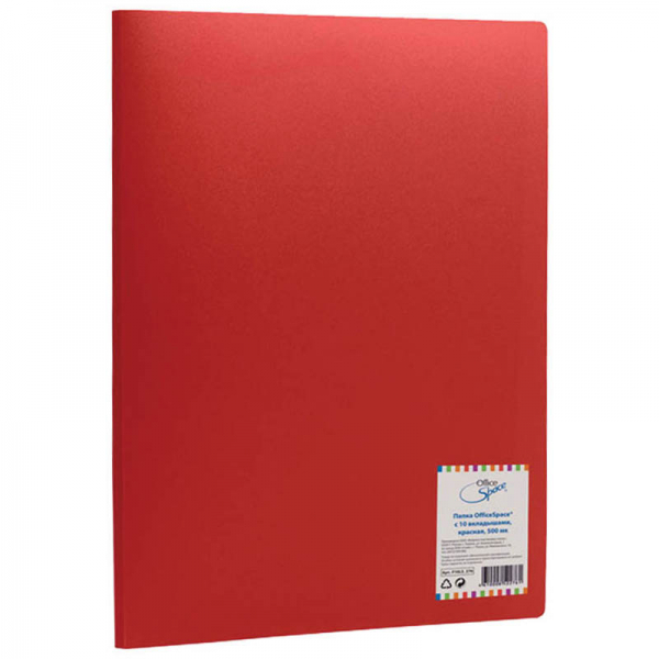 "Папка ""OfficeSpace"", с 10 вкладышами, 15 мм, красная"