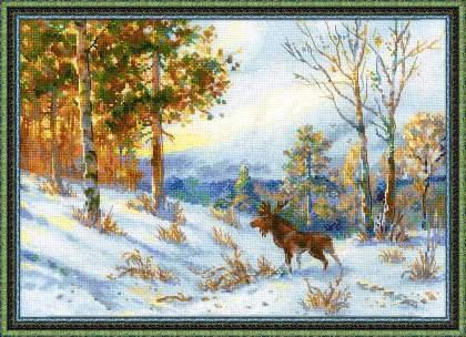 """Набор для вышивания """"Лось в зимнем лесу"""", по мотивам картины В.Л. Муравьева"""