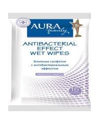 """Салфетки влажные """"Aura. Beauty"""", 15x20 см, 15 штук, антибактериальные"""