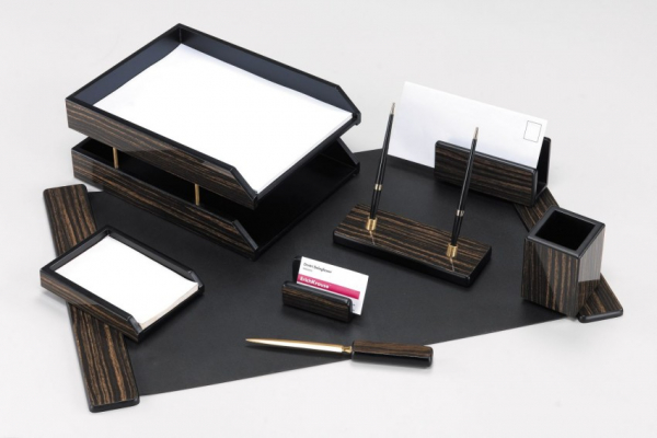 Настольный набор из дерева, 8 предметов, черный