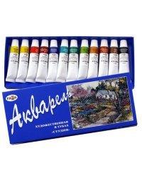 """Краски акварельные """"Студия"""", 12 цветов по 9 мл, туба"""
