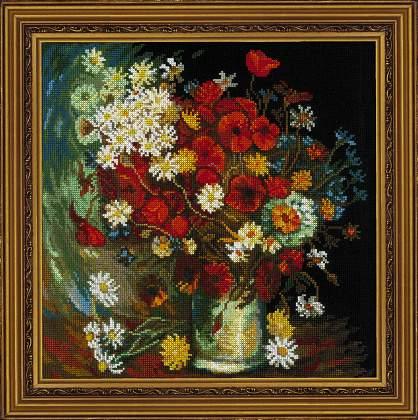 """Набор для вышивки """"Ваза с маками, васильками и хризантемами"""", по мотивам картины В. Ван Гога"""