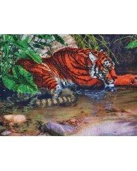 """Набор для вышивания бисером """"Тигр в воде"""", 40x30 см (арт. БН-3077)"""