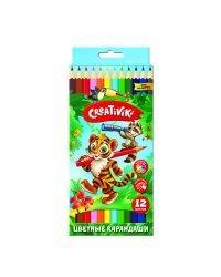 """Карандаши цветные """"Creativiki"""", шестигранные, 12 цветов"""
