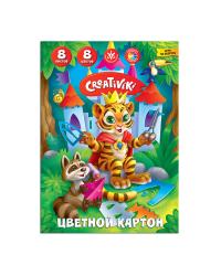 """Картон цветной """"Creativiki"""", А4, 8 листов, 8 цветов"""