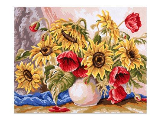 """Канва с рисунком для вышивания """"Подсолнухи с маками"""", 60х50 см, арт. 11.588"""