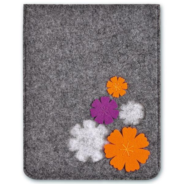 """Папка из синтетического фетра """"Цветы"""", цвет серый"""
