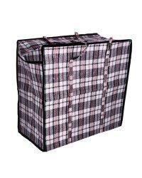 Сумка-баул хозяйственная, полипропилен, 60x45x25 см, 68 литров, черно-красная, 150 г/м2