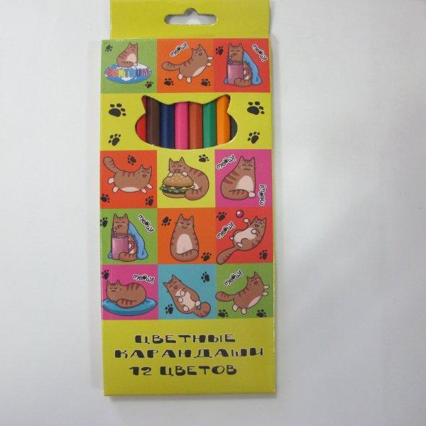 """Карандаши цветные """"Коты"""", 177 мм, 12 цветов"""