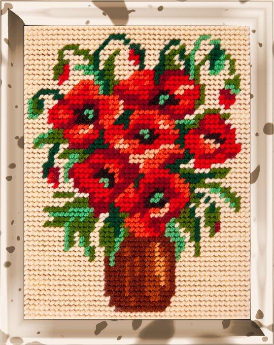 """Набор для вышивания пряжей """"BAMBINI. Букет маков"""", 15х20 см, арт. X2216"""