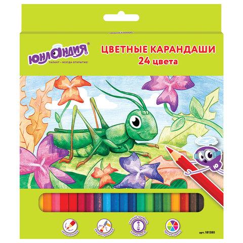 """Карандаши цветные """"В гостях у букашек"""", 24 цвета, заточенные"""