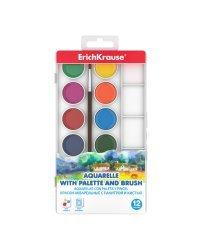 Краски акварельные, 12 цветов, с палитрой и кистью