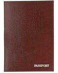 "Обложка на паспорт ""Passport. Крокодил"", коричневая"