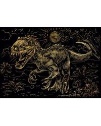 """Гравюра """"Большой динозавр"""", А4, с эффектом золота, в конверте"""