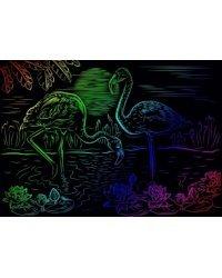 """Гравюра """"Фламинго"""", А4, с эффектом радуги, в конверте"""