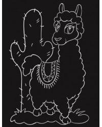 """Гравюра """"Лама у кактуса"""", 13х17 см, с эффектом золота, в пакете с ручкой"""