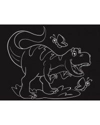 """Гравюра """"Милый динозавр"""", 13х17 см, с эффектом золота, в пакете с ручкой"""