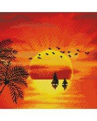 """Алмазная мозаика """"Красивый закат"""" (28 цветов)"""