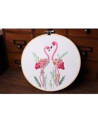"""Набор для вышивания гладью """"Розовые фламинго"""""""