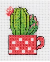 """Набор для вышивания крестом Klart """"Кактус в чашке"""", 7,5x8,5 см, арт. 8-457"""