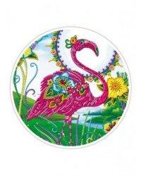 """Алмазная мозаика, круглая """"Фламинго"""", D24 см (частичное заполнение, с подрамником)"""