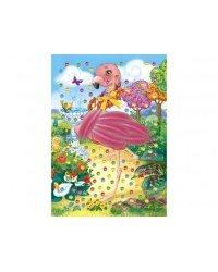 "Мозаика из страз ""Фламинго"", с перьями (формат A5)"