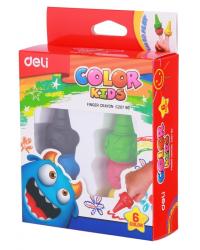 """Восковые мелки Deli """"Color Kids"""", пальчиковые, 6 цветов, арт. EC2EC20790 403"""