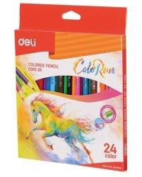 """Карандаши цветные Deli """"ColoRun"""", тополь, 24 цветов, арт. EC00320"""