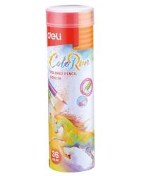 """Карандаши цветные Deli """"ColoRun"""", тополь, с точилкой, 36 цветов, арт. EC00338"""