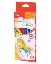 """Карандаши цветные Deli """"ColoRun"""", тополь, трехгранные, 12 цветов, арт. EC00300"""