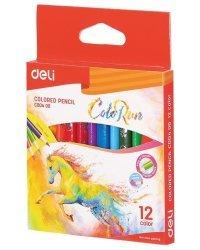"""Карандаши цветные """"ColoRun"""", короткие, трехгранные, 12 цветов, арт. EC00400"""