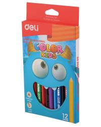 """Карандаши цветные Deli """"Color Kids"""", трехгранные, 12 цветов, арт. EC00600"""