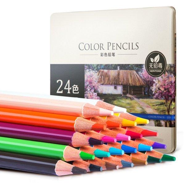 """Карандаши цветные акварельные """"Deli"""", липа, 24 цвета, арт. 6565"""
