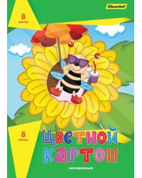 """Картон цветной Silwerhof """"Подсолнух"""", 8 цветов, 8 листов, A4, арт. 918106-14"""