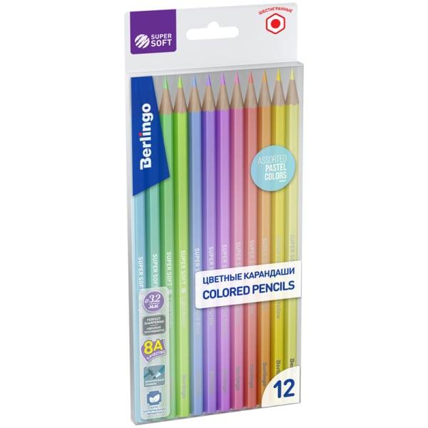 """Карандаши цветные """"SuperSoft. Pastel"""", 12 цветов"""