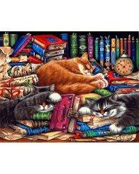 """Живопись на холсте """"Библиотека кошек"""", 40x50 см"""