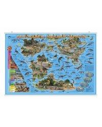 """Карта настенная на рейках """"Динозавры. Юрский период"""", 101х69 см (ламинированная)"""