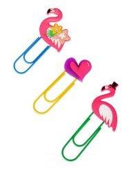 """Набор закладок-скрепок """"Влюбленные фламинго"""", 3 штуки"""