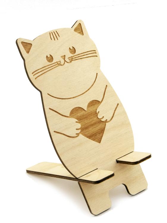 """Подставка для телефона """"Котик с сердечком"""", 8,6x13 см"""