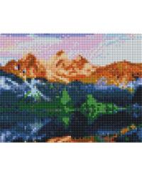 """Алмазная мозаика """"Горный пейзаж"""", квадратная, 17x22 см"""