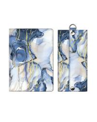 """Набор подарочный """"Синий мрамор"""" (обложка для паспорта, ключница)"""